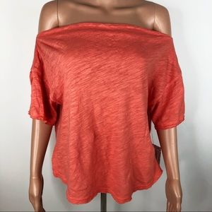 NWT Free People Oversized Off The Shoulder T-Shirt